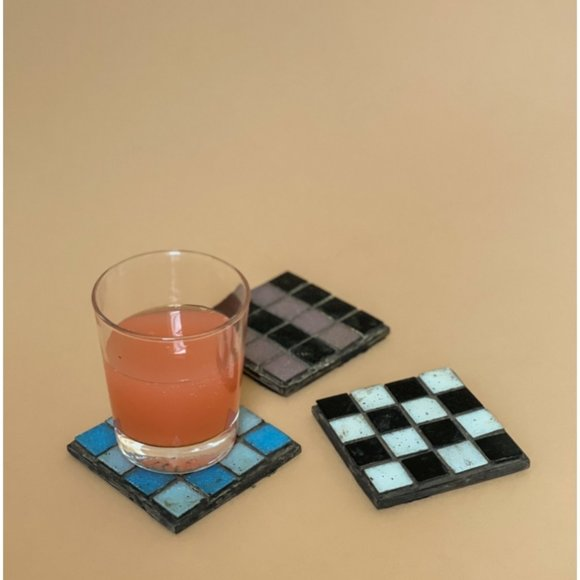 Vintage 90s Checkered Coasters Tiles Retro Bright